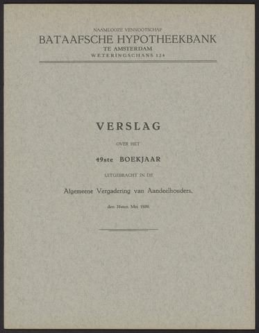 Jaarverslagen Bataafsche Hypotheekbank 1938