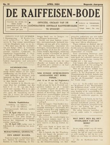 blad 'De Raiffeisen-bode' (CCRB) 1924-04-01