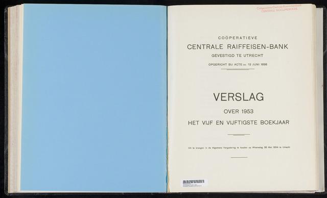 Jaarverslagen Coöperatieve Centrale Raiffeisen-Bank 1953