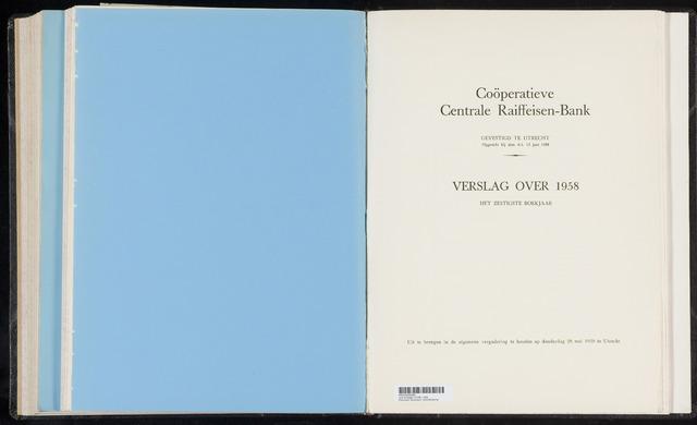 Jaarverslagen Coöperatieve Centrale Raiffeisen-Bank 1958