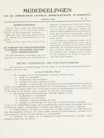 blad 'Mededeelingen' (CCB) 1914-08-01