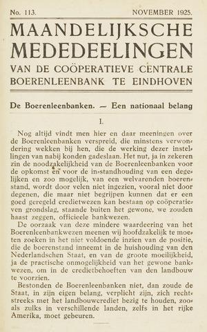 blad 'Maandelijkse Mededelingen' (CCB) 1925-11-01