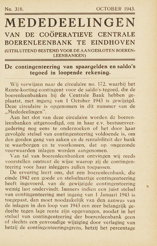 blad 'Maandelijkse Mededelingen' (CCB) 1943-10-01