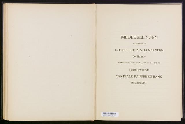 Mededelingen lokale banken CCRB 1919-12-31