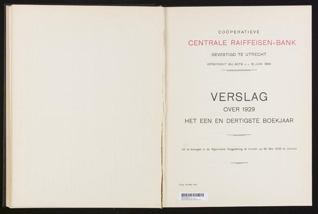 Jaarverslagen Coöperatieve Centrale Raiffeisen-Bank 1929