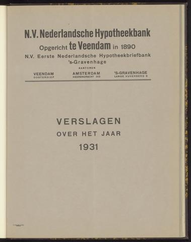 Jaarverslagen Nederlandsche Hypotheekbank 1931