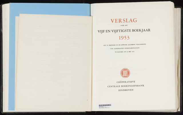 Jaarverslagen Coöperatieve Centrale Boerenleenbank 1953
