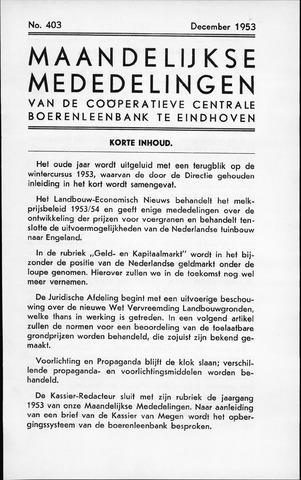 blad 'Maandelijkse Mededelingen' (CCB) 1953-12-01