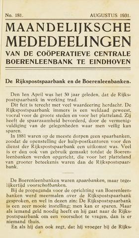 blad 'Maandelijkse Mededelingen' (CCB) 1931-08-01
