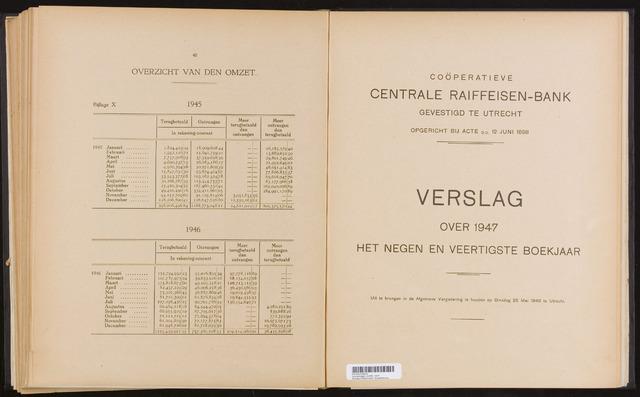 Jaarverslagen Coöperatieve Centrale Raiffeisen-Bank 1947