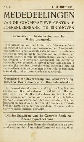 blad 'Maandelijkse Mededelingen' (CCB) 1921-10-01
