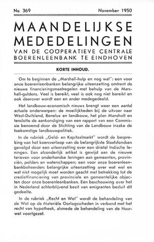 blad 'Maandelijkse Mededelingen' (CCB) 1950-11-01