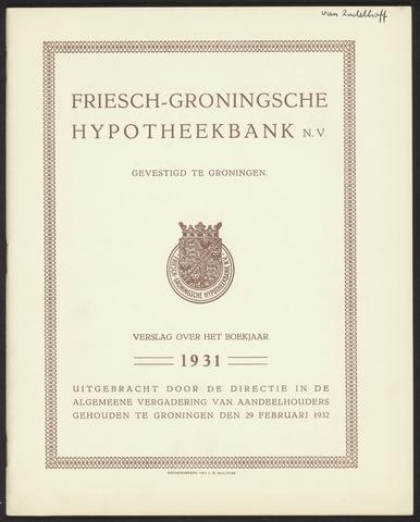 Jaarverslagen Friesch-Groningsche Hypotheekbank / FGH Bank 1931