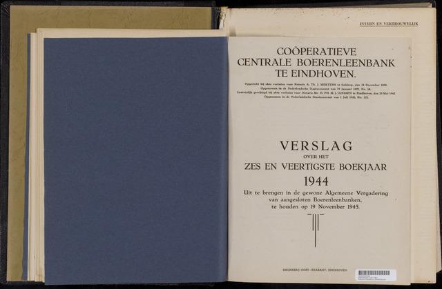 Jaarverslagen Coöperatieve Centrale Boerenleenbank 1944