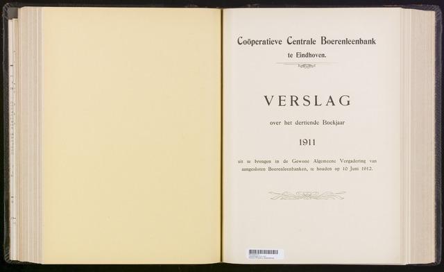 Jaarverslagen Coöperatieve Centrale Boerenleenbank 1911-12-31
