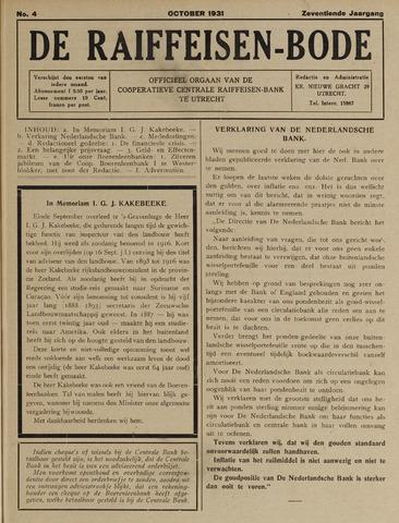 blad 'De Raiffeisen-bode' (CCRB) 1931-10-01