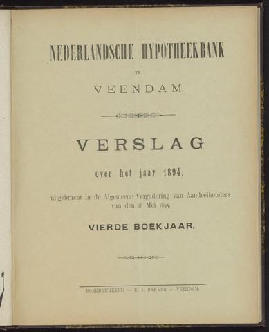 Jaarverslagen Nederlandsche Hypotheekbank 1894