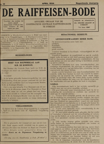 blad 'De Raiffeisen-bode' (CCRB) 1934-04-01