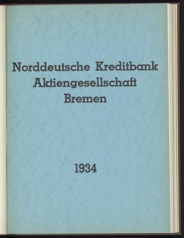 Geschäftsberichte Norddeutsche Kreditbank 1934