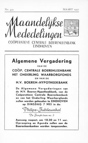 blad 'Maandelijkse Mededelingen' (CCB) 1957-03-01