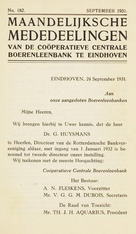 blad 'Maandelijkse Mededelingen' (CCB) 1931-09-01