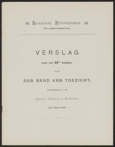 Jaarverslagen Bataafsche Hypotheekbank 1902