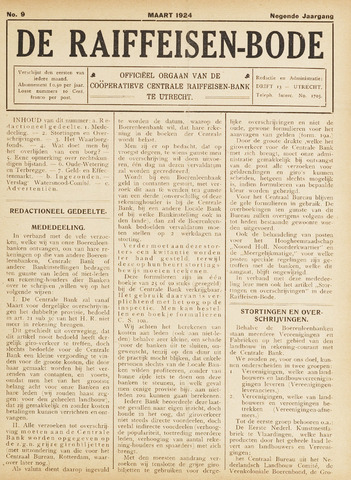 blad 'De Raiffeisen-bode' (CCRB) 1924-03-01