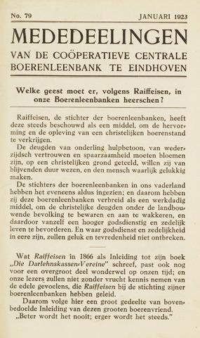 blad 'Maandelijkse Mededelingen' (CCB) 1923