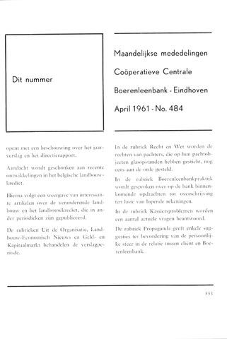 blad 'Maandelijkse Mededelingen' (CCB) 1961-04-01