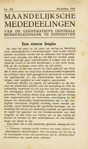 blad 'Maandelijkse Mededelingen' (CCB) 1945