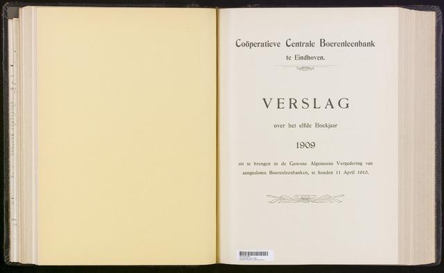 Jaarverslagen Coöperatieve Centrale Boerenleenbank 1909-12-31