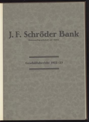 Geschäftsberichte Bankhaus Schröder 1922-01-01