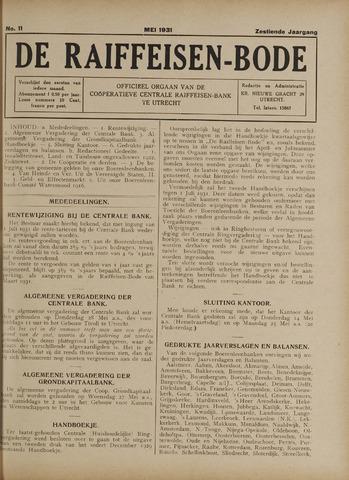 blad 'De Raiffeisen-bode' (CCRB) 1931-05-01