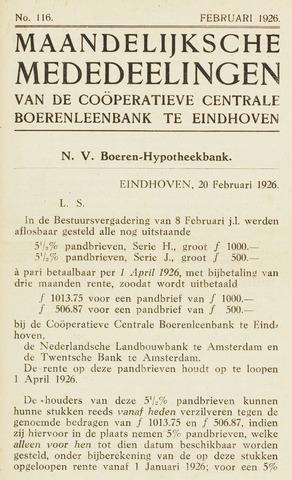 blad 'Maandelijkse Mededelingen' (CCB) 1926-02-01
