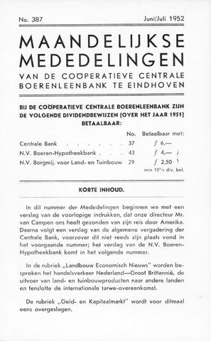 blad 'Maandelijkse Mededelingen' (CCB) 1952-06-01