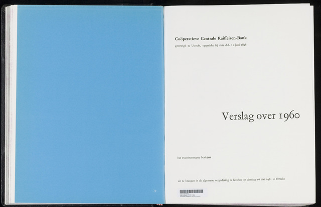 Jaarverslagen Coöperatieve Centrale Raiffeisen-Bank 1960-12-31
