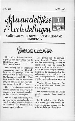 blad 'Maandelijkse Mededelingen' (CCB) 1956-05-01