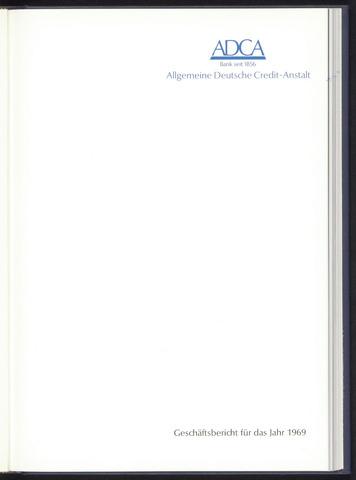 Geschäftsberichte Allgemeine Deutsche Credit-Anstalt / ADCA Bank 1969-01-01