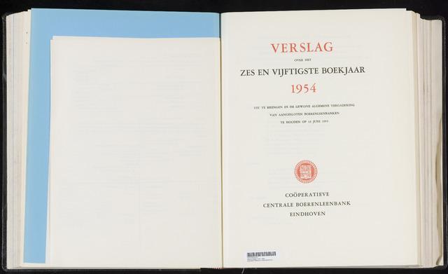 Jaarverslagen Coöperatieve Centrale Boerenleenbank 1954