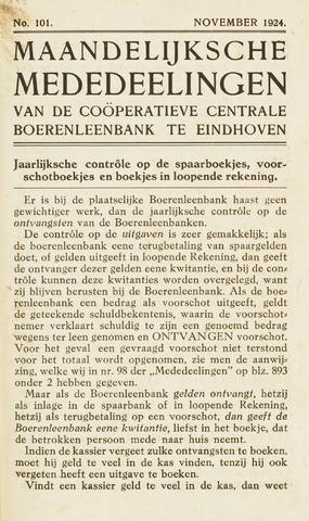 blad 'Maandelijkse Mededelingen' (CCB) 1924-11-01
