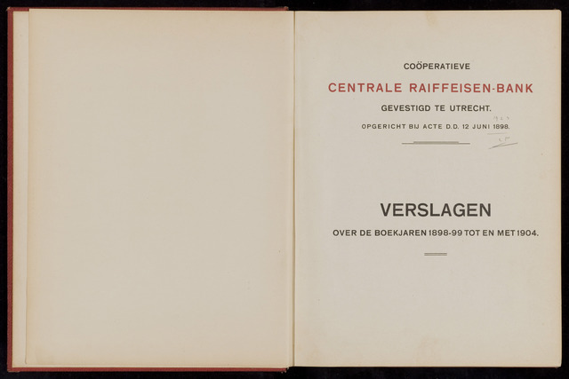 Jaarverslagen Coöperatieve Centrale Raiffeisen-Bank 1899-12-31