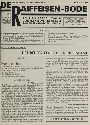 blad 'De Raiffeisen-bode' (CCRB) 1935-10-01