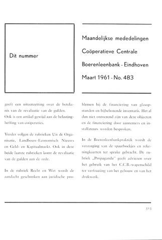 blad 'Maandelijkse Mededelingen' (CCB) 1961-03-01