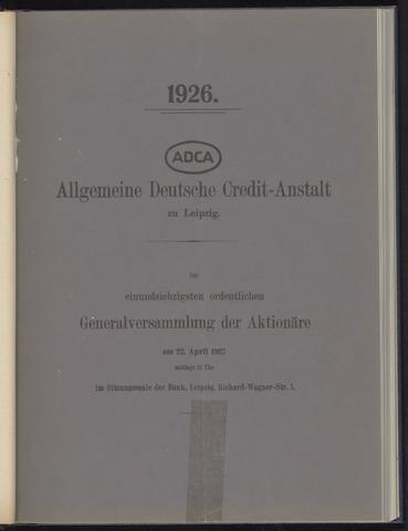 Geschäftsberichte Allgemeine Deutsche Credit-Anstalt / ADCA Bank 1926-01-01