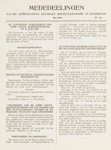 blad 'Mededeelingen' (CCB) 1919-05-01