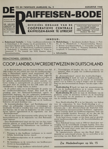 blad 'De Raiffeisen-bode' (CCRB) 1940-08-01