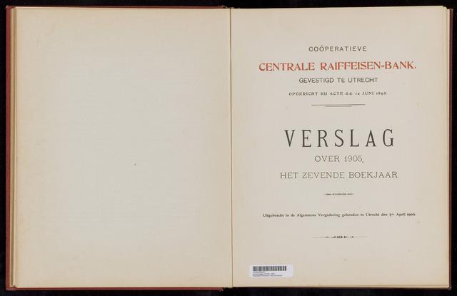 Jaarverslagen Coöperatieve Centrale Raiffeisen-Bank 1905-12-31