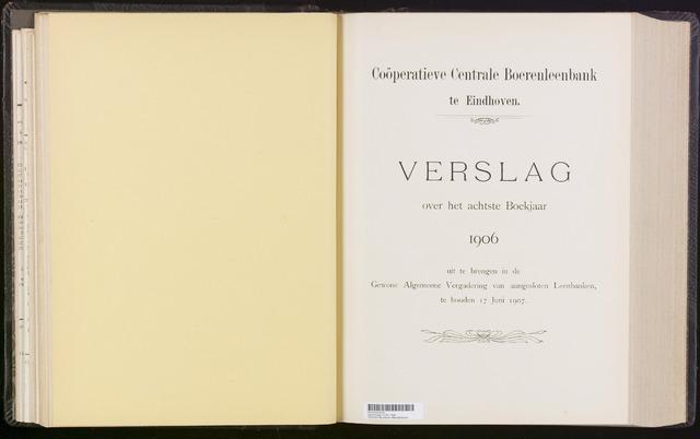 Jaarverslagen Coöperatieve Centrale Boerenleenbank 1906