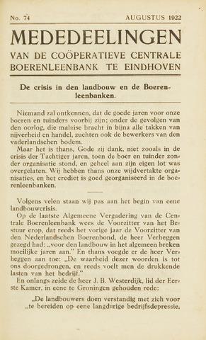 blad 'Maandelijkse Mededelingen' (CCB) 1922-08-01
