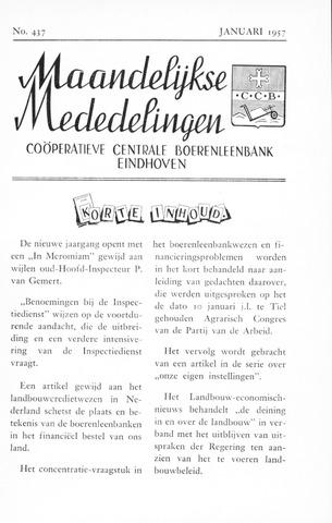 blad 'Maandelijkse Mededelingen' (CCB) 1957-01-01